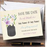 Lilac & Blue Flower Vase Vintage Customised Wedding Save The Date Cards