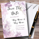 Pale Purple Watercolour Floral Customised Wedding Save The Date Cards