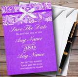 Vintage Cadbury Purple Burlap & Lace Customised Wedding Save The Date Cards