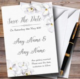 Stunning White Watercolour Magnolias Customised Wedding Save The Date Cards