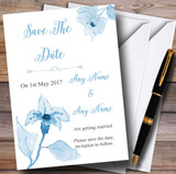 Beautiful Powder Baby Blue Watercolour Flowers Customised Save The Date Cards
