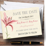 Coral Pink Lily Vintage Customised Wedding Save The Date Cards