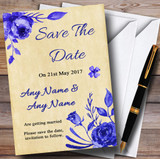 Vintage Blue & White Watercolour Floral Customised Wedding Save The Date Cards