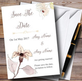 Beautiful Peach Watercolour Flowers Customised Wedding Save The Date Cards