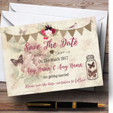 Rustic Parisian Style Vintage Customised Wedding Save The Date Cards
