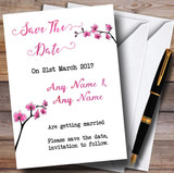 Pink Cherry Blossom Watercolour Customised Wedding Save The Date Cards