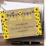 Rustic Sunflowers Vintage Customised Wedding Save The Date Cards