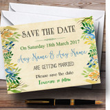 Vintage Autumn Leaves Watercolour Customised Wedding Save The Date Cards