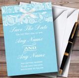 Vintage Aqua Sky Blue Burlap & Lace Customised Wedding Save The Date Cards