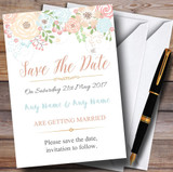 Coral Peach & Blue Watercolour Floral Header Customised Save The Date Cards
