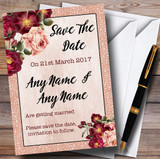 Coral Blush & Deep Red Watercolour Rose Customised Wedding Save The Date Cards
