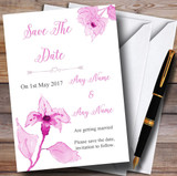Beautiful Dusty Rose Pink Watercolour Flowers Customised Save The Date Cards