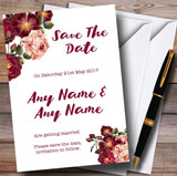 Blush Coral Pink & Deep Red Watercolour Rose Customised Save The Date Cards