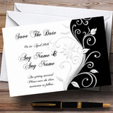 White Black Scroll Customised Wedding Save The Date Cards
