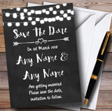 Chalk Style and Lights Watercolour Customised Wedding Save The Date Cards