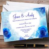 Stunning Blue Flowers Romantic Customised Wedding Invitations