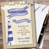 Burlap Nautical Lighthouse Boys Customised Baby Shower Invitations