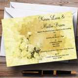 Yellow Cream Lace Customised Wedding Invitations