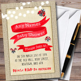 Burlap Style Ladybird Customised Baby Shower Invitations