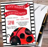 Cute Ladybird Ladybug Customised Baby Shower Invitations