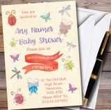 Girls Bugs & Insects Customised Baby Shower Invitations