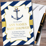 Gold & Blue Nautical Anchor Customised Baby Shower Invitations