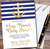 Gold Blue & White Nautical Anchor Customised Baby Shower Invitations