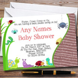 Insects Bugs & Ladybirds Customised Baby Shower Invitations