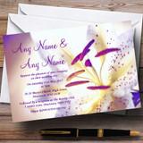 Purple Beautiful Lily Flower Customised Wedding Invitations