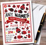 Ladybirds & Ladybugs Customised Baby Shower Invitations