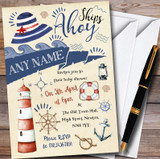Nautical Beach Sea Anchor Customised Baby Shower Invitations