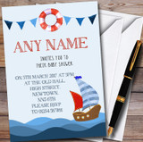 Nautical Boat On Sea Customised Baby Shower Invitations