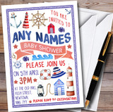 Nautical Sea Boat Customised Baby Shower Invitations
