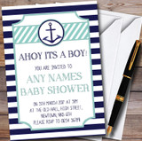 Navy Blue Stripe Nautical Anchor Customised Baby Shower Invitations