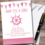 Pink Bunting Nautical Beach Customised Baby Shower Invitations