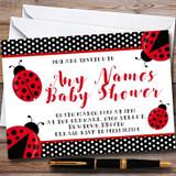 Polkadot Ladybird Ladybug Customised Baby Shower Invitations