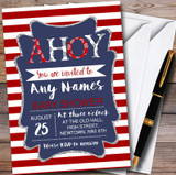 Red Stripe Ahoy Nautical Customised Baby Shower Invitations