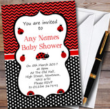 Spots & Chevrons Ladybird Ladybug Customised Baby Shower Invitations