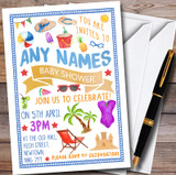 Sunny Beach Pool Customised Baby Shower Invitations