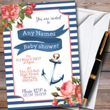 Vintage Floral Nautical Customised Baby Shower Invitations