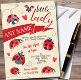 Vintage Ladybird Customised Baby Shower Invitations