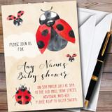 Watercolour Ladybird Ladybug Customised Baby Shower Invitations
