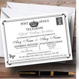 Vintage Telegram Elegant White Customised Wedding Invitations