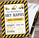 Digger Construction Dump Everything Customised Baby Shower Invitations