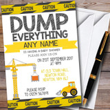 Dump Everything Digger Construction Customised Baby Shower Invitations