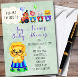 Boys Watercolour Circus Animals Customised Baby Shower Invitations