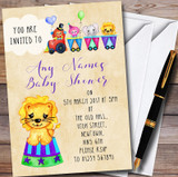 Cute Watercolour Circus Animals Customised Baby Shower Invitations