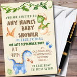 Watercolour Cute Dinosaur Boy Customised Baby Shower Invitations