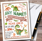 Cute Dinosaur Watercolour Customised Baby Shower Invitations