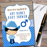 Blue Western Cute Cowboy Customised Baby Shower Invitations